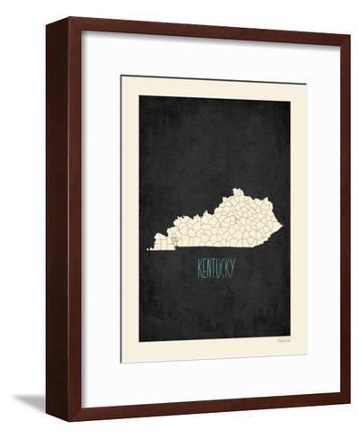 Black Map Kentucky-Kindred Sol Collective-Framed Art Print
