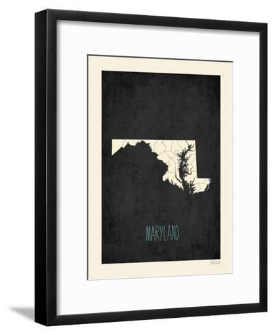 Black Map Maryland-Rebecca Peragine-Framed Art Print