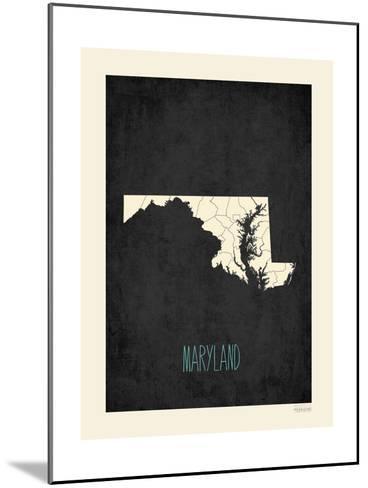 Black Map Maryland-Rebecca Peragine-Mounted Art Print