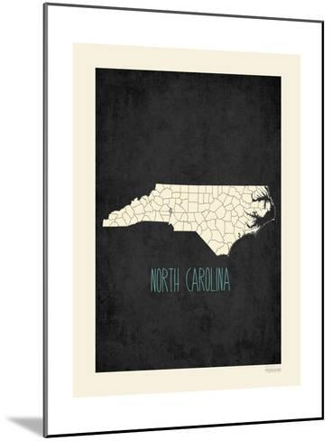 Black Map North Carolina-Kindred Sol Collective-Mounted Art Print