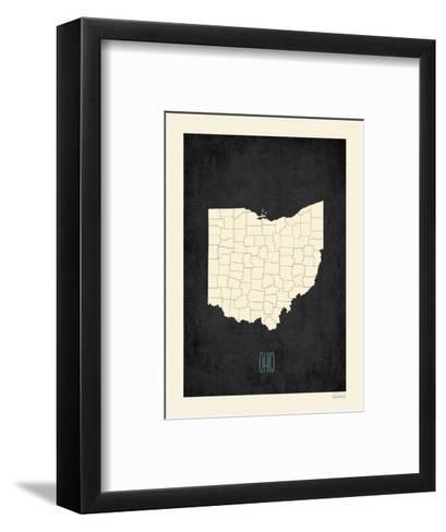 Black Map Ohio-Kindred Sol Collective-Framed Art Print