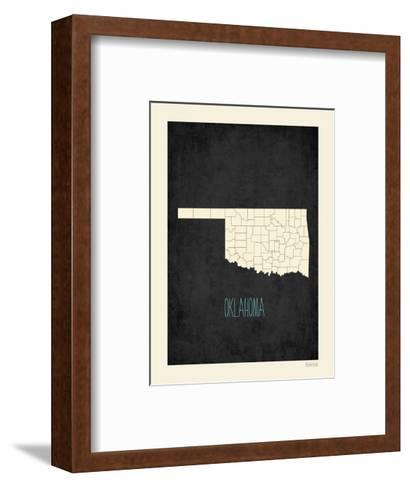 Black Map Oklahoma-Rebecca Peragine-Framed Art Print