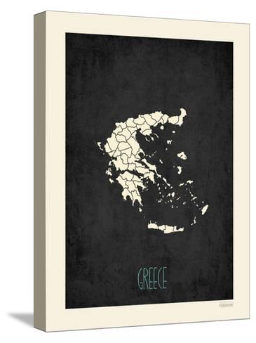 Black Map Greece-Rebecca Peragine-Stretched Canvas Print