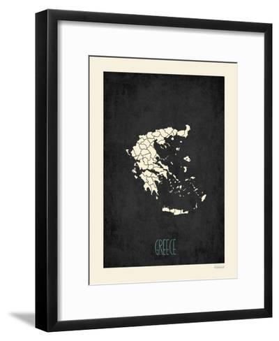 Black Map Greece-Rebecca Peragine-Framed Art Print
