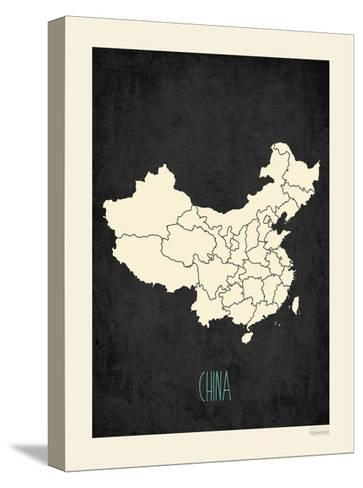 Black Map China-Kindred Sol Collective-Stretched Canvas Print