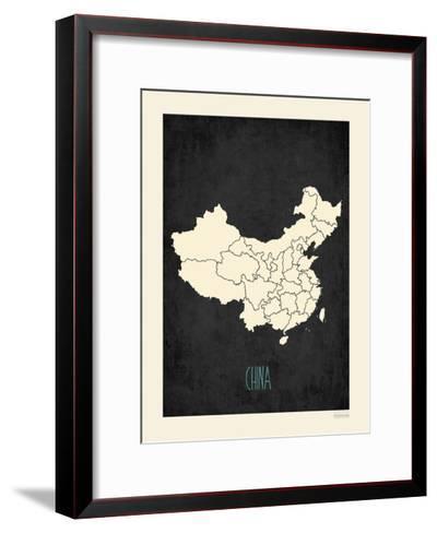 Black Map China-Kindred Sol Collective-Framed Art Print