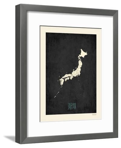 Black Map Japan-Rebecca Peragine-Framed Art Print