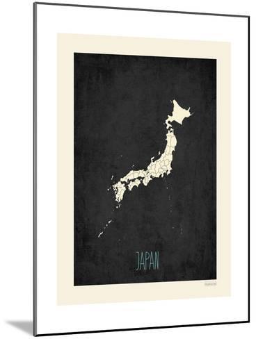 Black Map Japan-Rebecca Peragine-Mounted Art Print