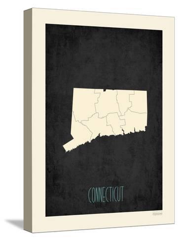 Black Map Connecticut-Rebecca Peragine-Stretched Canvas Print