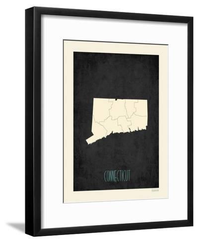 Black Map Connecticut-Rebecca Peragine-Framed Art Print
