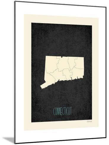 Black Map Connecticut-Rebecca Peragine-Mounted Art Print