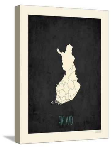 Black Map Finland-Rebecca Peragine-Stretched Canvas Print