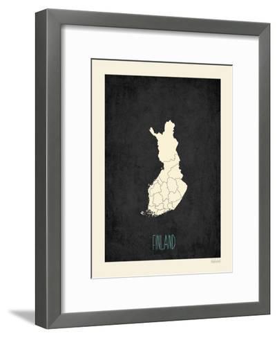 Black Map Finland-Rebecca Peragine-Framed Art Print