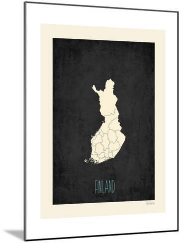 Black Map Finland-Rebecca Peragine-Mounted Art Print