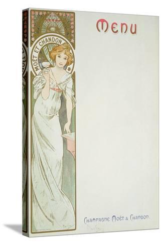 Moet and Chandon Menu, 1899-Alphonse Mucha-Stretched Canvas Print