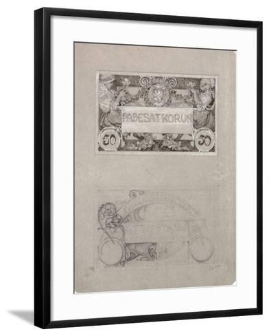 Design for 50 Crown Banknote of the Republic of Czechoslovakia, 1930-Alphonse Mucha-Framed Art Print