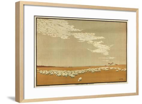 A Flock of Merino Sheep - Australia, from the Series 'Australia's Wealth of Wheat and Wool'-Archibald Bertram Webb-Framed Art Print