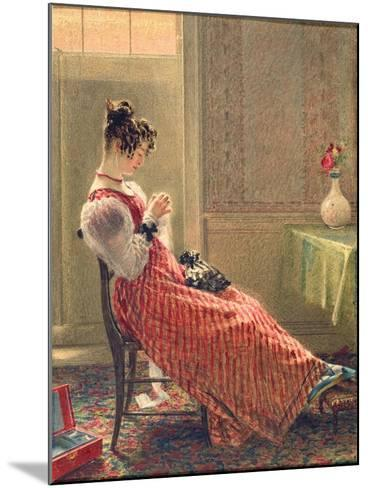 Lady Sewing, C.1830-William Henry Hunt-Mounted Giclee Print