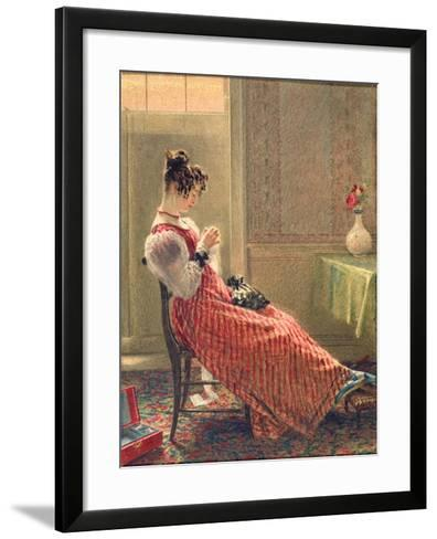 Lady Sewing, C.1830-William Henry Hunt-Framed Art Print