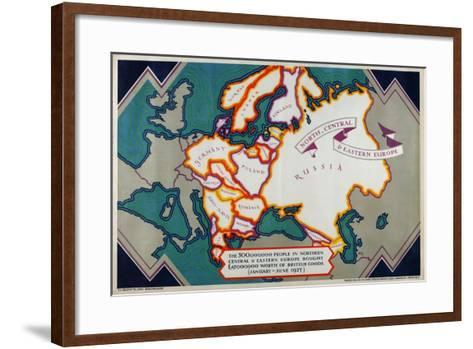 North, Central and Eastern Europe, from the Series 'Where Our Exports Go', 1927-William Grimmond-Framed Art Print