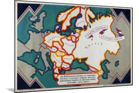 North, Central and Eastern Europe, from the Series 'Where Our Exports Go', 1927-William Grimmond-Mounted Giclee Print