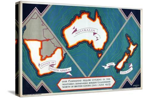 Union of South Africa, Australia, New Zealand, from the Series 'Where Our Exports Go', 1927-William Grimmond-Stretched Canvas Print