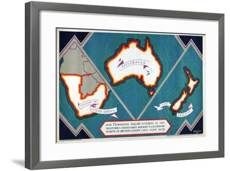 Union of South Africa, Australia, New Zealand, from the Series 'Where Our Exports Go', 1927-William Grimmond-Framed Art Print