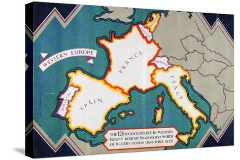 Western Europe, from the Series 'Where Our Exports Go'-William Grimmond-Stretched Canvas Print