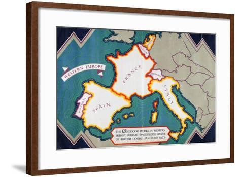 Western Europe, from the Series 'Where Our Exports Go'-William Grimmond-Framed Art Print