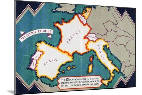 Western Europe, from the Series 'Where Our Exports Go'-William Grimmond-Mounted Giclee Print