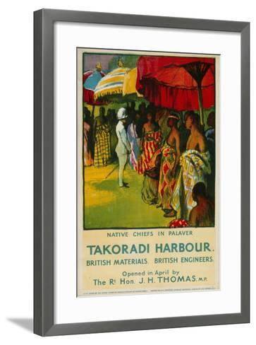 Native Chiefs in Palaver, Takoradi Harbour-Gerald Spencer Pryse-Framed Art Print