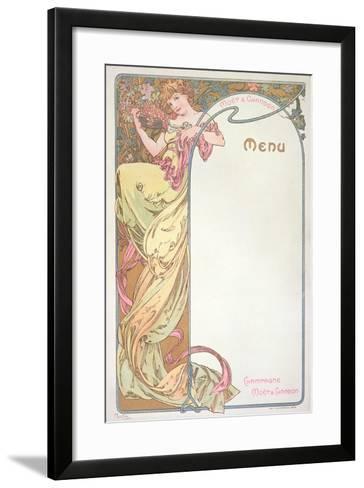 Moet and Chandon Menu, 1899-Alphonse Mucha-Framed Art Print