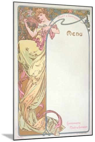 Moet and Chandon Menu, 1899-Alphonse Mucha-Mounted Giclee Print