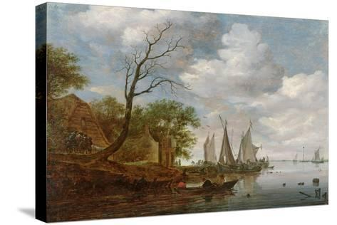 River Scene with Sailing Boats Unloading at the Shore-Salomon van Ruisdael-Stretched Canvas Print
