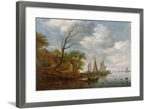 River Scene with Sailing Boats Unloading at the Shore-Salomon van Ruisdael-Framed Art Print