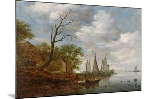 River Scene with Sailing Boats Unloading at the Shore-Salomon van Ruisdael-Mounted Giclee Print