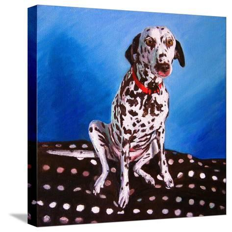 Dalmatian on Spotty Cushion, 2011-Helen White-Stretched Canvas Print