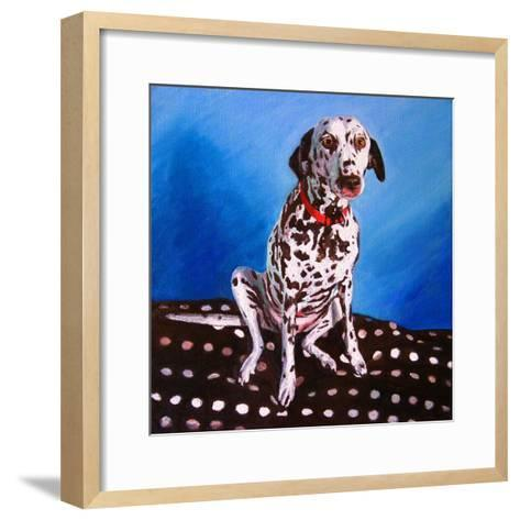 Dalmatian on Spotty Cushion, 2011-Helen White-Framed Art Print