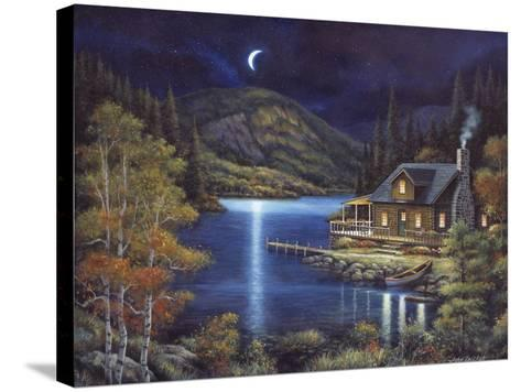 Moonlit Cabin-John Zaccheo-Stretched Canvas Print