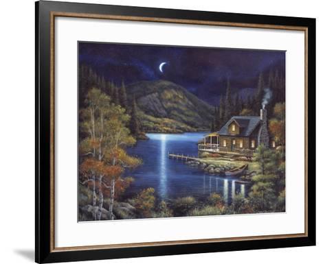 Moonlit Cabin-John Zaccheo-Framed Art Print