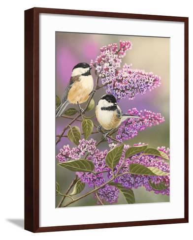 Lilacs and Chickadees-William Vanderdasson-Framed Art Print