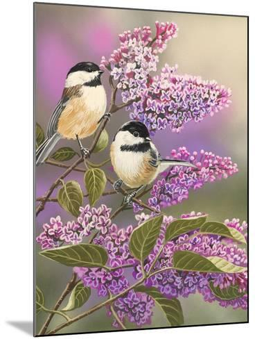 Lilacs and Chickadees-William Vanderdasson-Mounted Giclee Print