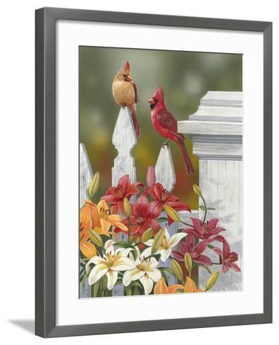 Lilies and Cardinals-William Vanderdasson-Framed Art Print