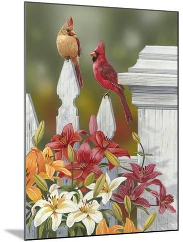 Lilies and Cardinals-William Vanderdasson-Mounted Giclee Print