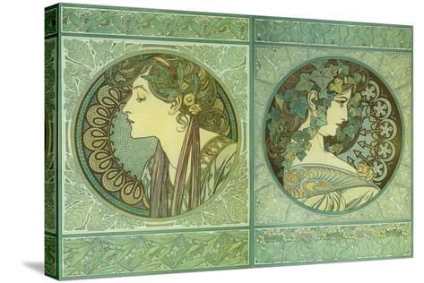 Mucha Green Medallions--Stretched Canvas Print