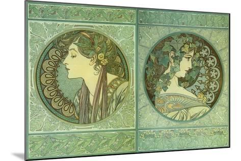 Mucha Green Medallions--Mounted Giclee Print