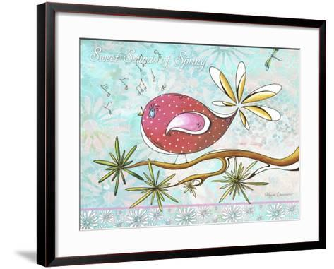 Pink Brown Bird with Notes and Branch-Megan Aroon Duncanson-Framed Art Print