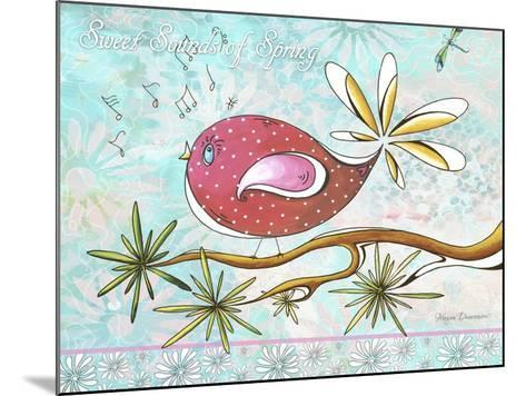 Pink Brown Bird with Notes and Branch-Megan Aroon Duncanson-Mounted Giclee Print