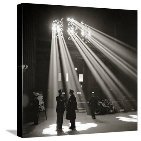 Police in Waiting Room of the Union Station, Chicago--Stretched Canvas Print