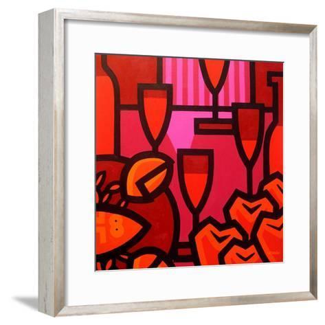 Poppies Apples Wine and Fish-John Nolan-Framed Art Print